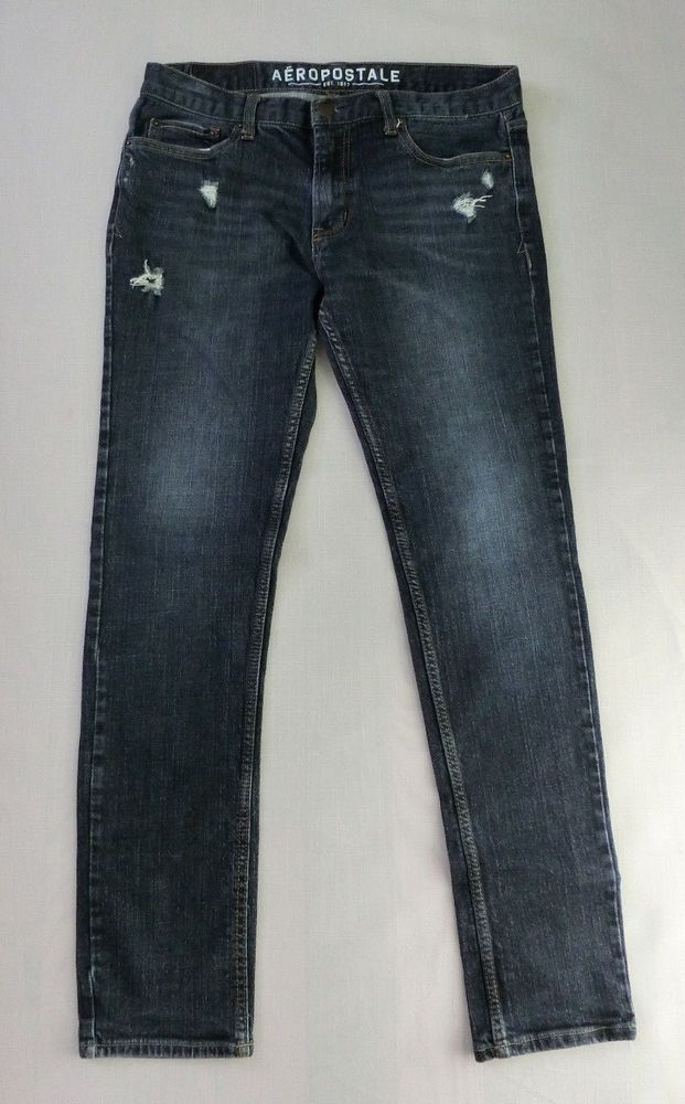 Mens Super Skinny Ripped Distress Stretch Jeans Aeropostale 32/32, 32/30 #aeropostale #SlimSkinny