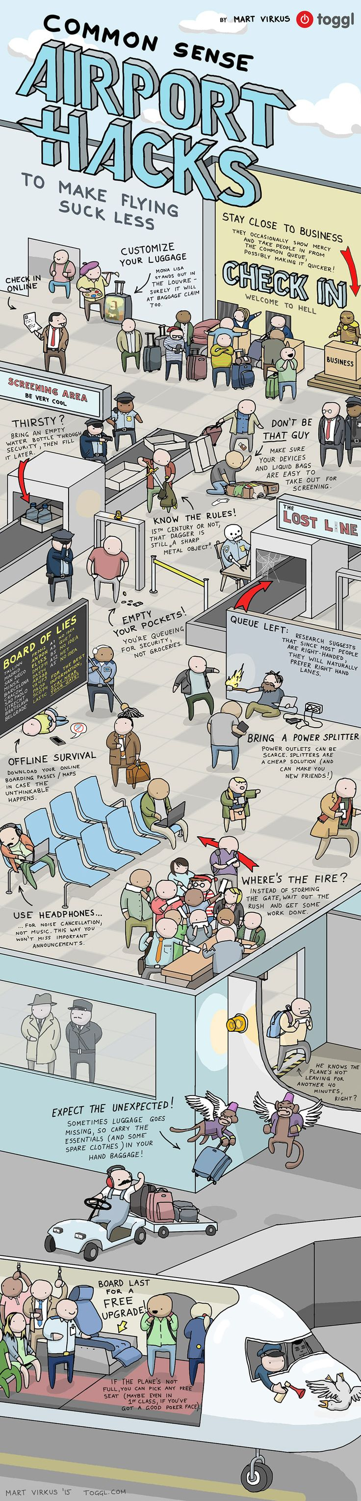 Awesome #Airport Hacks to Make #Flying Suck Less - Do you fancy an infographic?  There are a lot of them online, but if you want your own please visit http://www.linfografico.com/prezzi/  Online girano molte infografiche, se ne vuoi realizzare una tutta tua visita http://www.linfografico.com/prezzi/
