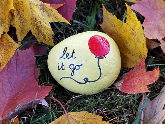 Let it go red balloon painted rock