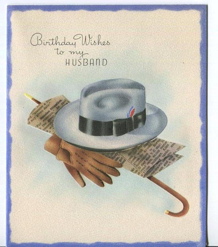 VINTAGE MEN'S STETSON HAT WALKING STICK GLOVES KEYS NEWSPAPER GREETING ART CARD | eBay