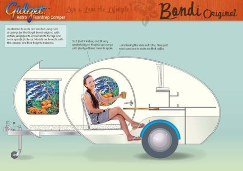 Gidget teardrop camper takes sliding approach to extra space