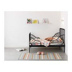 """MINNEN Ext bed frame with slatted bed base, black - 38 1/4x74 3/4 """" - IKEA---two of these after the new year. One for Skye, one for Lillian."""