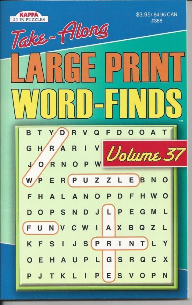 KAPPA TAKE ALONG LARGE PRINT WORD SEARCH FUN PUZZLE BOOK VOLUME 37 NEW