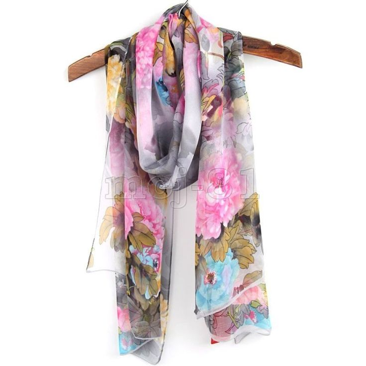 "Fashion Women's Long Soft Chiffon ""Floral"" Beach Scarf Wrap Shawl Stole Scarves"