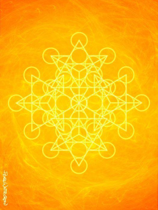 Art Print of Sacred Geometry in bright orange solar plexus chakra yellow sun power