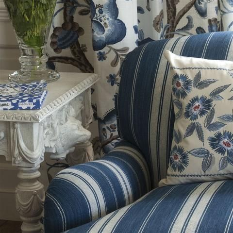 A chunky cotton multistripe with fine line and broader ribbon combinations. Subtle tonal variation in the weave give this smart fabric a comfortable and rustic appeal | Buy online
