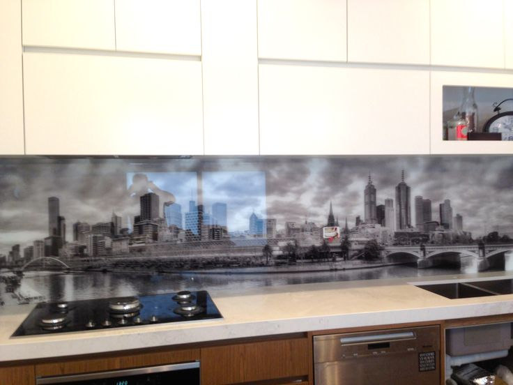 The beautiful Melbourne skyline digitally printed onto glass by Ultimate Glass Splashbacks