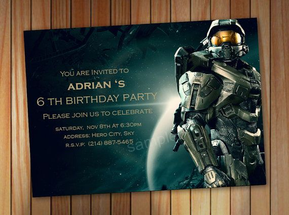 Halo Spartan Invitation Halo Birthday Invitation by pastagetti