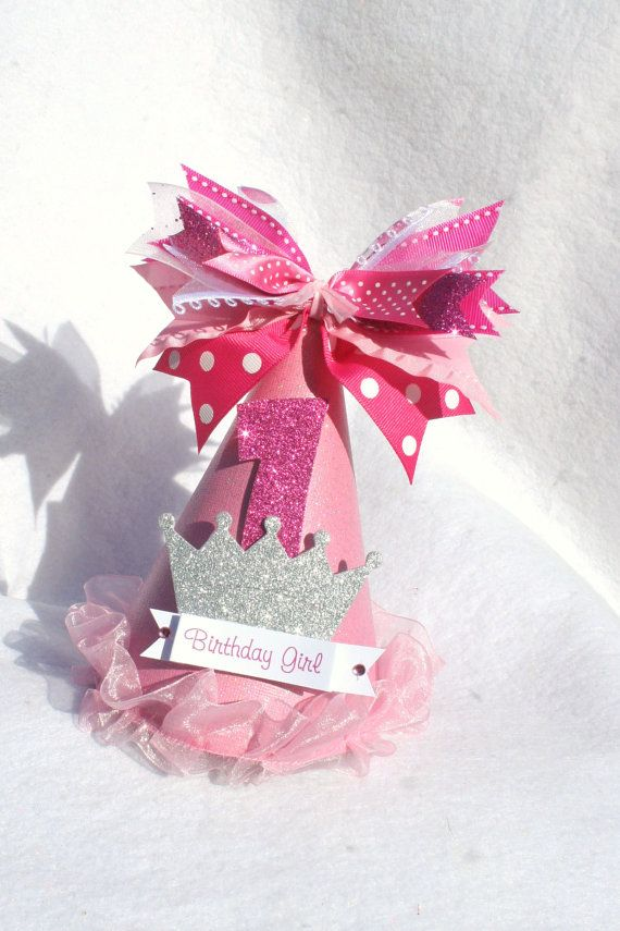 pink sparkly princess party hat with silver by LittlePinkTractor