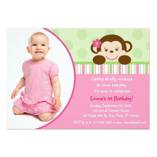 19 best monkey birthday invitations for girls images on pinterest lil mod monkey girl photo birthday invitations filmwisefo Choice Image
