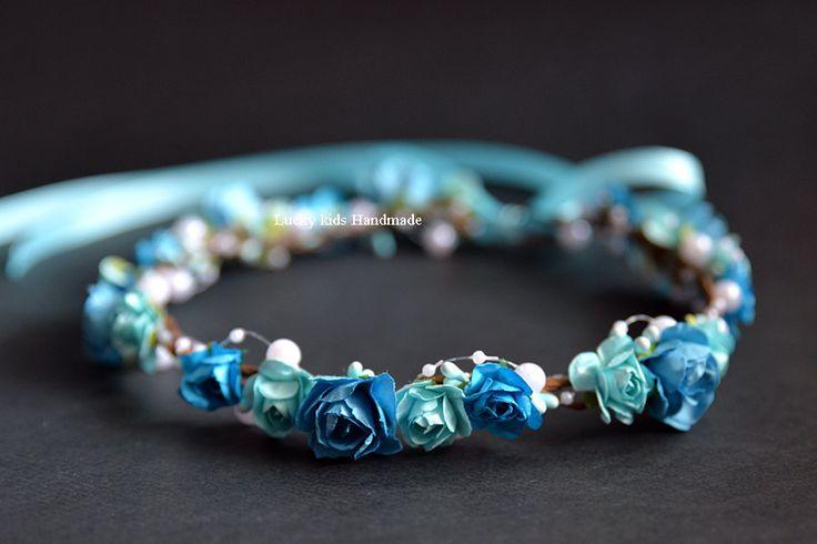 Blaue Blume Krone Blue Floral Krone von LuckyKidsHandmade auf Etsy