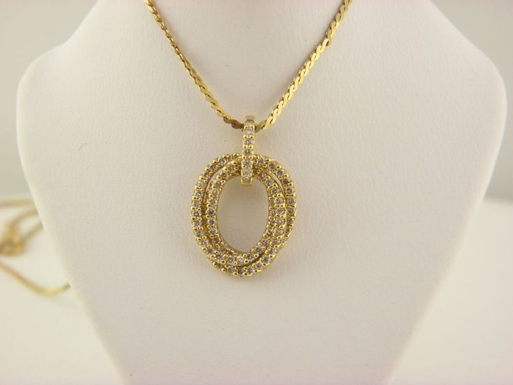 "14K Yellow Gold Diamond 1.Tcw Interlocking Oval Pendant on 16""inch Necklace.  #Unbranded #Pendant"