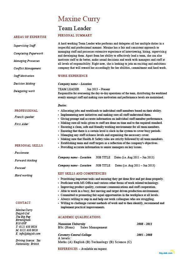 team leader sample resume Team Leader resume supervisor CV example template sample