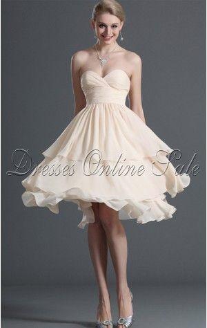 Popular A-line Knee-length Sweetheart Ivory Chiffon Dress
