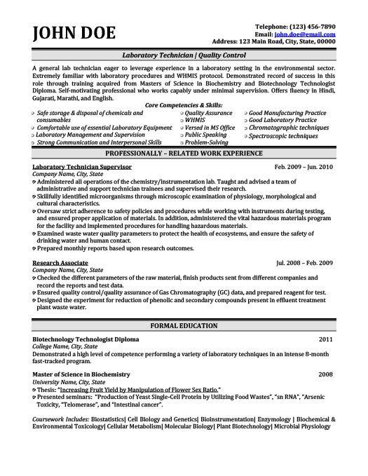 Laboratory Technician Resume Template | Premium Resume Samples & Example