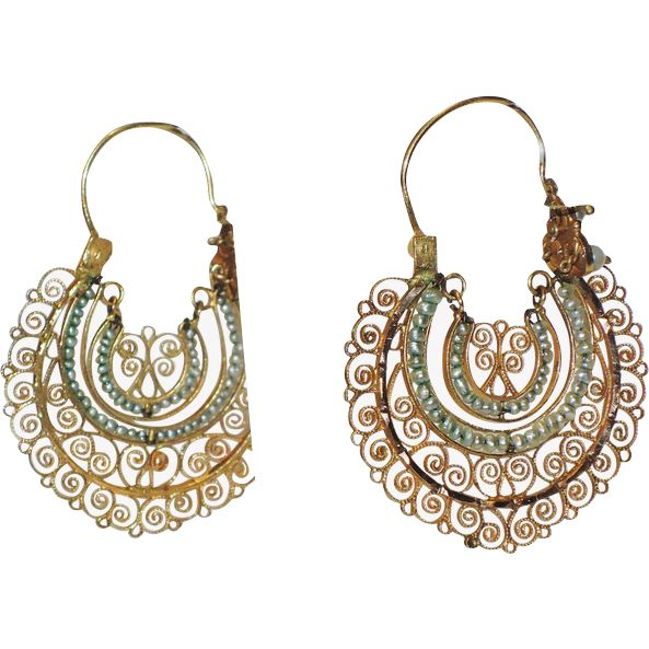 RARE Antique Mexican Oaxacan 14K Gold Filigree Seed Pearl Crescent Earrings...Fabulous & very rare!