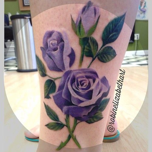 Purple rose tattoo by female tattooer Robin Cass @robinelizabethart