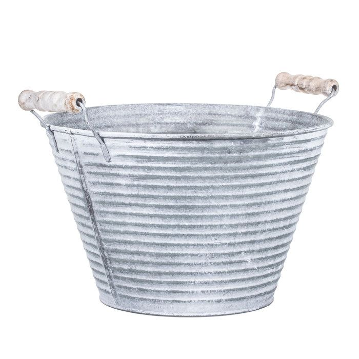 Metal Flower Pot with Wood Handles