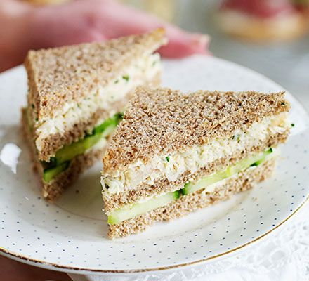 Lemony crab & cucumber clubs. White crabmeat, mayo and chives make a delicious afternoon tea sandwich filling that's special enough for a Mother's Day treat