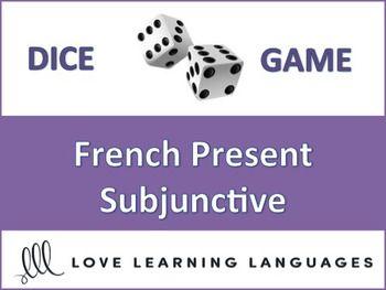 This is an easy to play 30 minute dice game to practice the French present subjunctive with 30 different verbs including regular ER, IR and RE verbs + YER verbs, TRE, POUVOIR, LIRE, PRENDRE, ALLER, DIRE, APPRENDRE, SORTIR, AVOIR, SAVOIR, CRIRE, COMPRENDRE, VOIR, FAIRE, CONDUIRE, BOIRE, VENIR, DORMIR, VOULOIR, METTRE and PARTIR.
