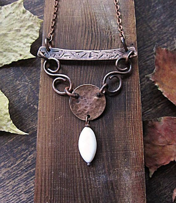 Copper Statement Textured Pendant Rustic Boho Hammered Disc