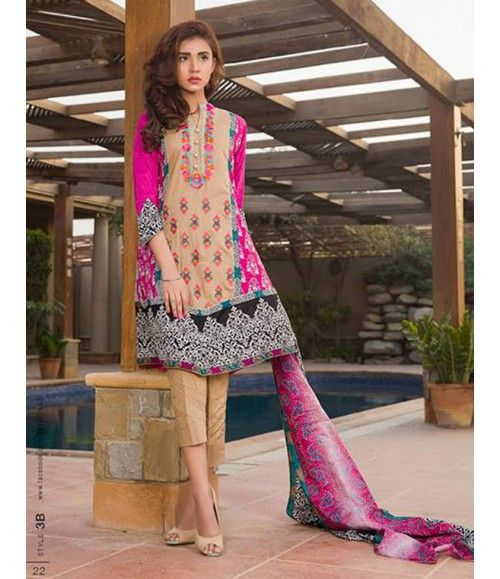 Signature Icon Embroidered Lawn Collection 2016 ZS_3B