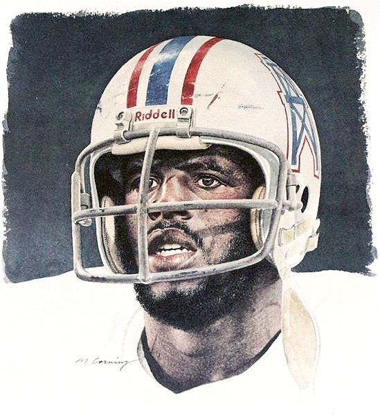 Earl Campbell, Houston Oilers by Merv Corning
