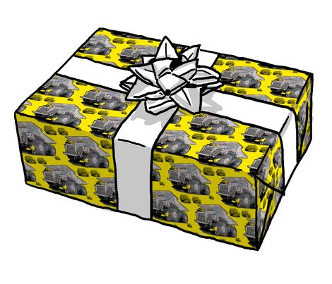Monster truck wrapping paper on spoonflower.