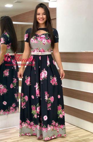 aeb44b2ac3 Floratta Modas - Moda Evangélica - A Loja da Mulher Virtuosa Vestido Longo  Evangelico