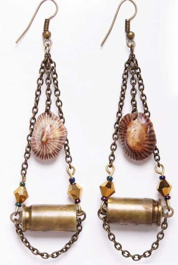Bullet and limpet shell earrings by DriftwoodandMoss on Etsy