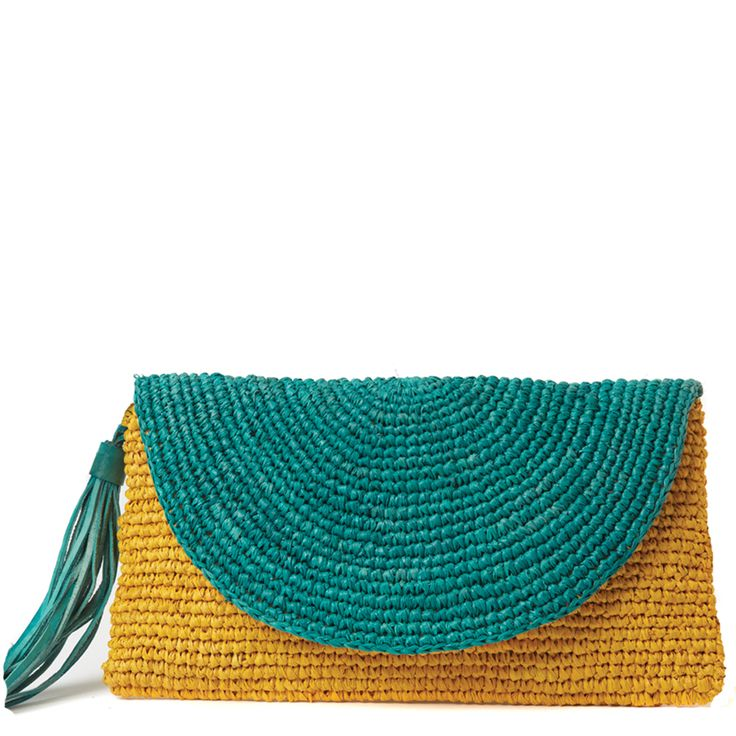 Camille Color Block Wristlet - summer crocheted rafia - Mar y Sol - similar pattern here: http://lovelucie1.wordpress.com/2014/04/13/crochet-linen-purse/