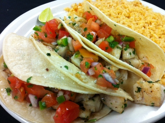 Fish Tacos - Grilled Tilapia w/ Cilantro, Onions, Jalepenos topped w ...