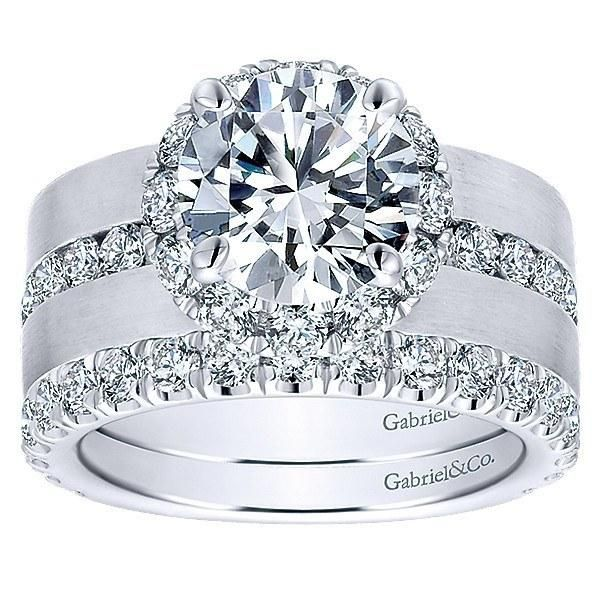 18K White Gold Wide Brushed Channel Set Diamond Engagement Ring. This ring…