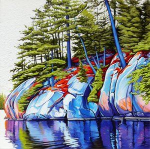 Reflections Johnnie Lake, Oil on Canvas, 18 inches x 18 inches, SOLD