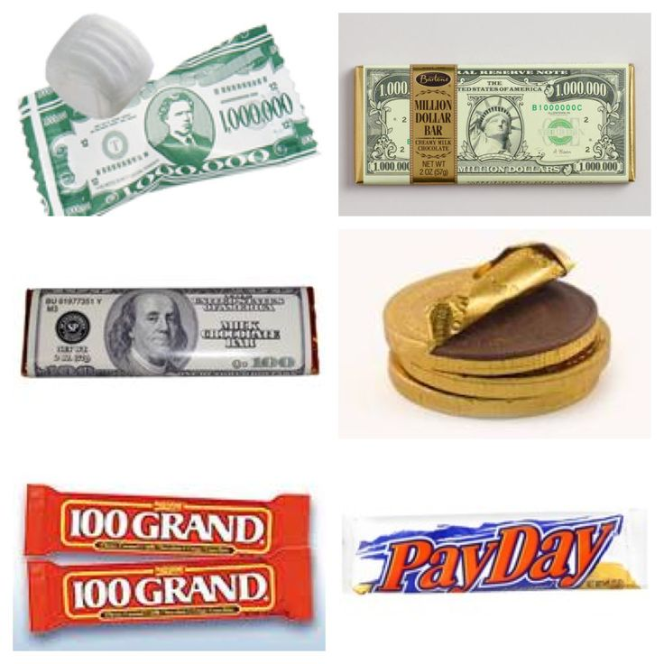 Money themed candies. Could use the candy bars as prizes for a Pimp and Ho party. The mints are at the Dollar Store, as well the Pay Days and 100 Grands and sometimes chocolate coins. The Million Dollar chocolate bars are at World Market for $1.99 each. Chocolate coins are at Party City in all colors.