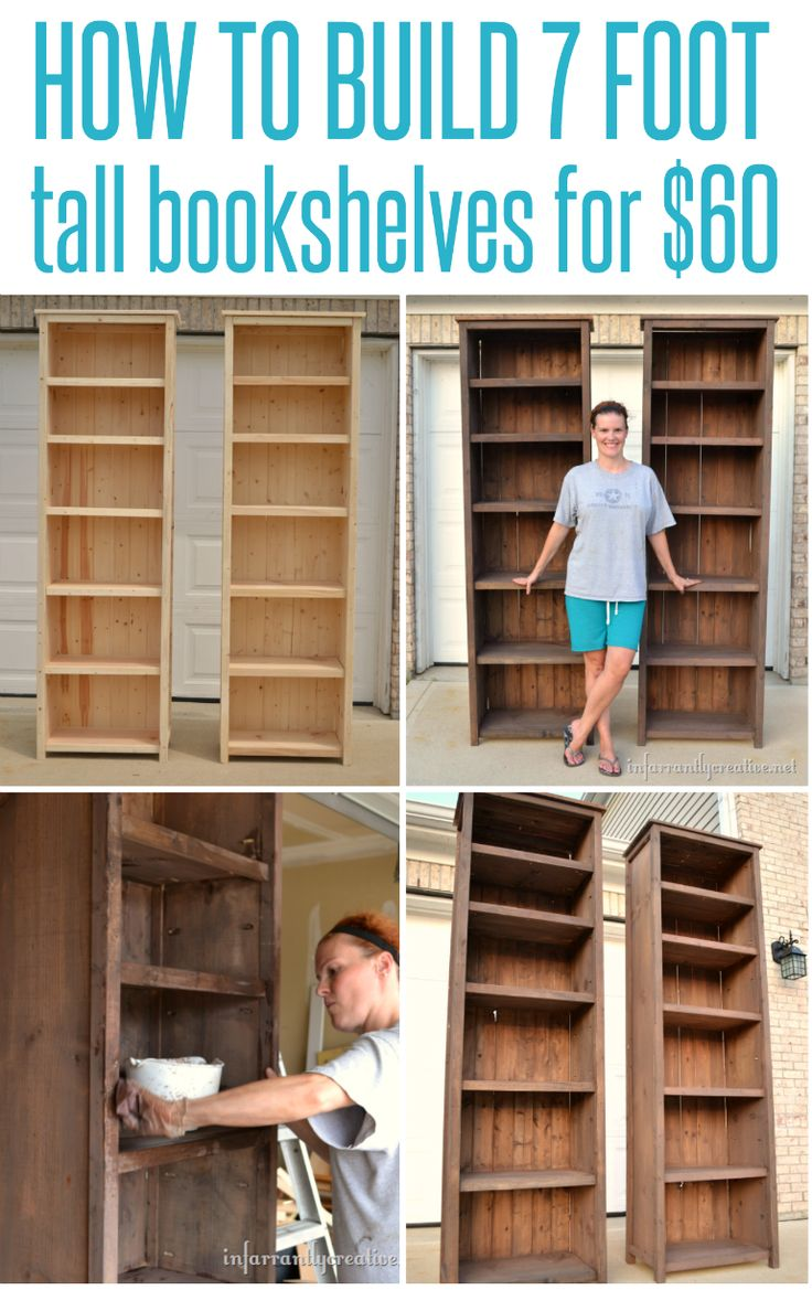 How to make 7' tall bookshelves for $60