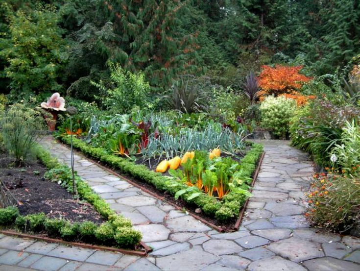 flower and vegetabler garden designs flagstone makes a beautiful pathing material in this potager