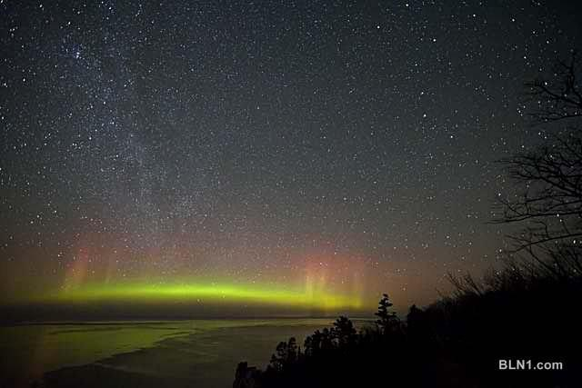 Northern lights in upper peninsula michigan