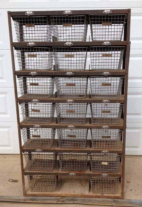 Vintage Gym Wire Basket Lockers in original Industrial Metal Shelving Unit .. Steampunk Antique .. Numbered Plates .. 20 baskets $750 etsy