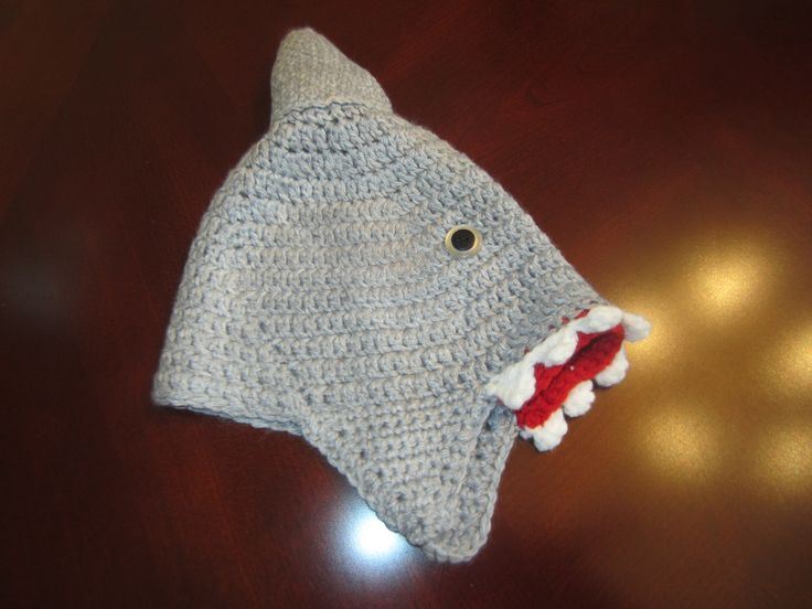 Shark Hat for Child 6-12mo by VioletsKnitwear on Etsy https://www.etsy.com/listing/238770475/shark-hat-for-child-6-12mo