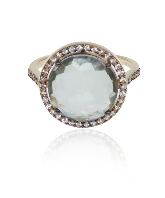 GREEN AMETHYST AND WHITE SAPPHIRE RING | SUZANNE KALAN