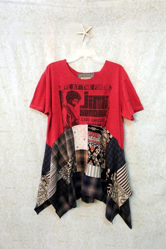 REVIVAL Jimi Hendrix Boho Shirt, Bohemian Junk Gypsy Style, Grunge Rocker Girl Chic, Free People Style, Rock N Roll Plaid , Coachella Music Fest, Rock Band Tshirt