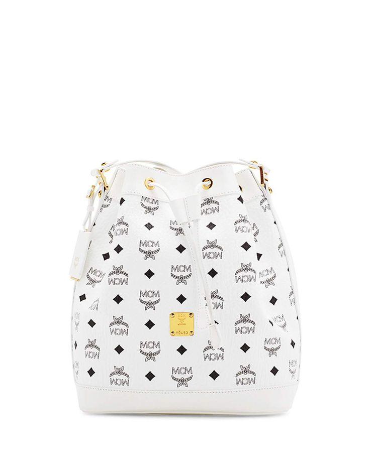 MCM Heritage Small Drawstring Bag, White