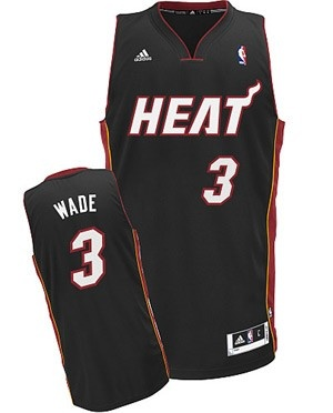 adidas Revolution 30 Miami HEAT Dwyane Wade Black Adult Swingman Jersey