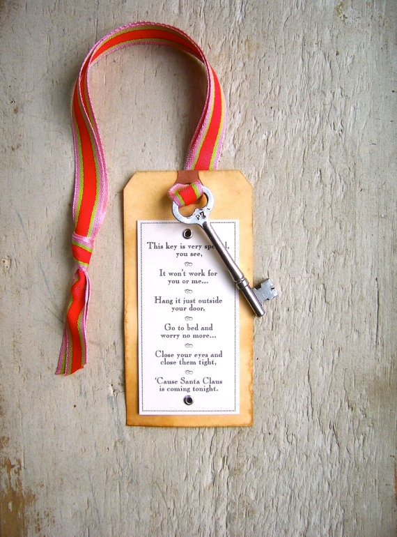 to accompany Santa's key... This is awesome. I am defiantly doing it this year. I might put it in their Christmas Eve box. Leave it at the front and back door. So now he can come in the house without having to break in