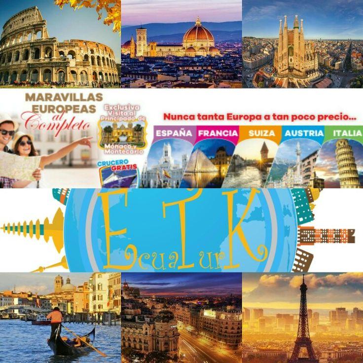 ¡Increíble! Europa 19 días Visitando España, Francia, Suiza, Austria e Italia Precio promoción: $3499 p/p/ H.d Salidas año 2017: - Agosto 21 al 08 de Septiembre - Septiembre 11 al 28 de Septiembre  PRECIO INCLUYE: - BOLETO AÉREO INTERCONTINENTAL UIO O GYE / MAD/ GYE O UIO - Traslados del aeropuerto al hotel y viceversa. - Alojamiento y desayuno buffet durante todo el recorrido. - Autocar turístico durante todo el viaje. - Guía acompañante durante todo el recorrido. - Tarjeta Celeste de…