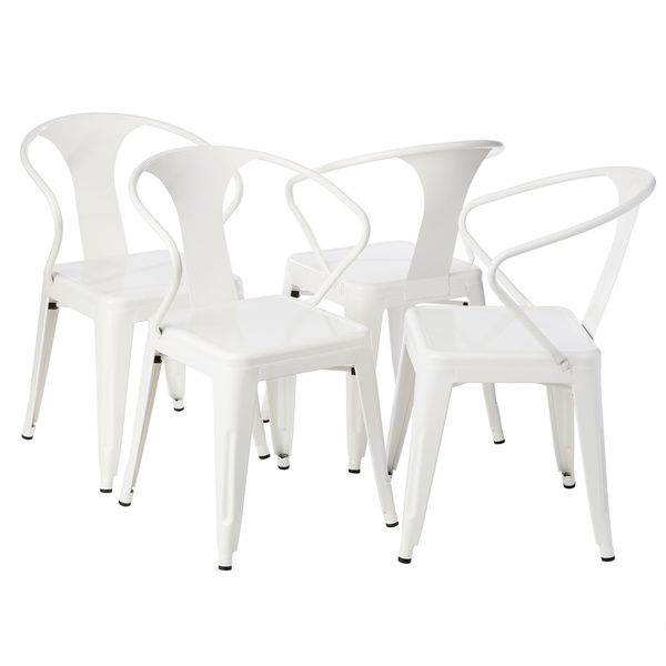 Great for back garden - White Tabouret Stacking Chairs (Set of 4)