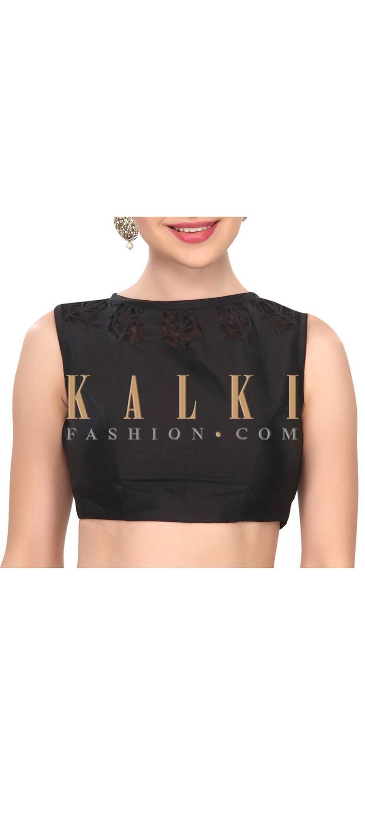 Buy this Western style black laser cut blouse only on Kalki