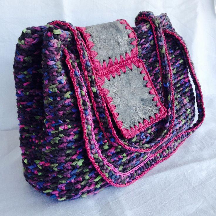 Borsa a spalla in fettuccia multicolore e riquadri in vera pelle : Borse a tracolla di bags-dream-team