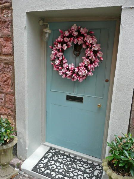 Possible new colour for our front door.  Farrow & Ball's Lulworth Blue  Finish: Exterior Eggshell